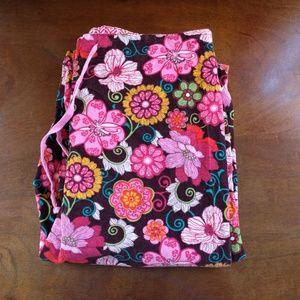 Vera Bradley Mod Floral Pink Corduroy Pajama Pants